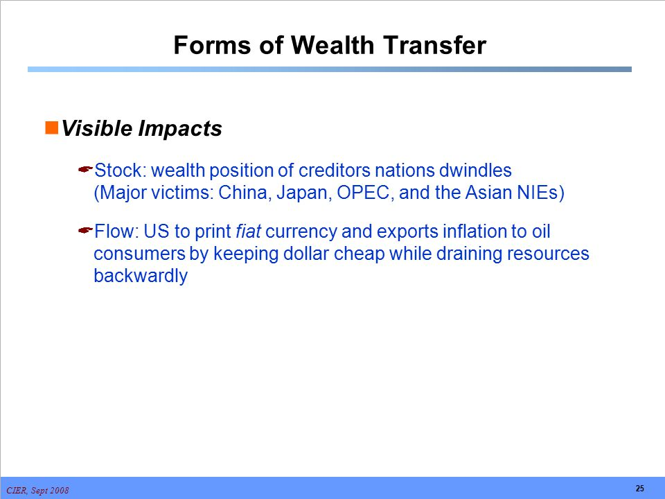 CIER, Sept 2008 25 Forms of Wealth Transfer Visible Impacts  Stock: wealth position of creditors nations dwindles (Major victims: China, Japan, OPEC,