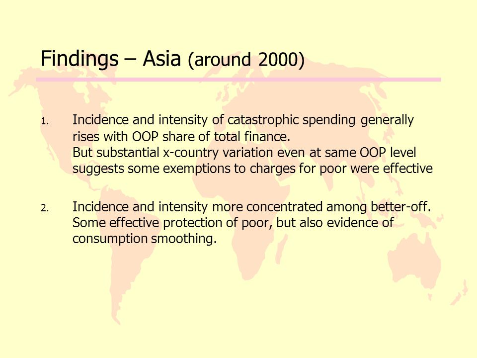 Findings – Asia (around 2000) 1.