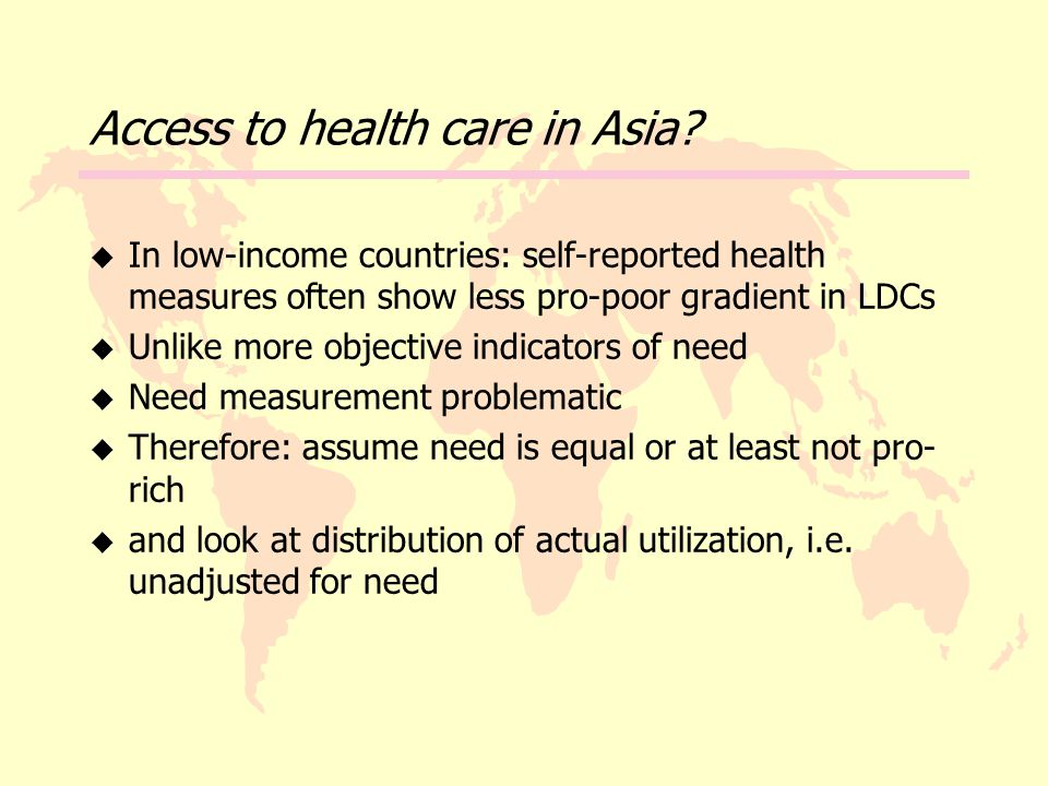 Access to health care in Asia.