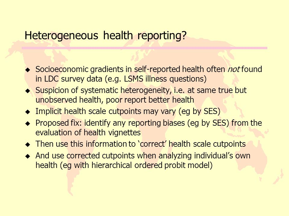 Heterogeneous health reporting.