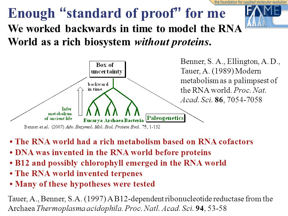 "Benner, S. A., Ellington, A. D., Tauer, A. (1989) Modern metabolism as a palimpsest of the RNA world. Proc. Nat. Acad. Sci. 86, 7054-7058 Enough "" sta"