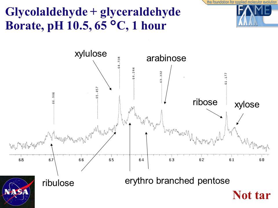 ribose xylose arabinose xylulose erythro branched pentose ribulose Glycolaldehyde + glyceraldehyde Borate, pH 10.5, 65 °C, 1 hour Not tar