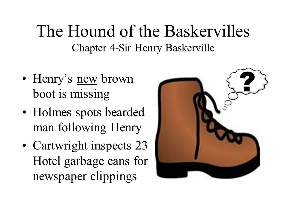 The Hound of the Baskervilles Chapter 4-Sir Henry Baskerville Henry's new brown boot is missing Holmes spots bearded man following Henry Cartwright in