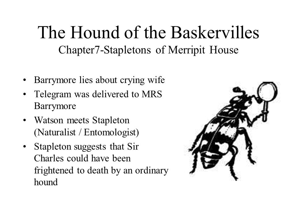 The Hound of the Baskervilles Chapter7-Stapletons of Merripit House Barrymore lies about crying wife Telegram was delivered to MRS Barrymore Watson me