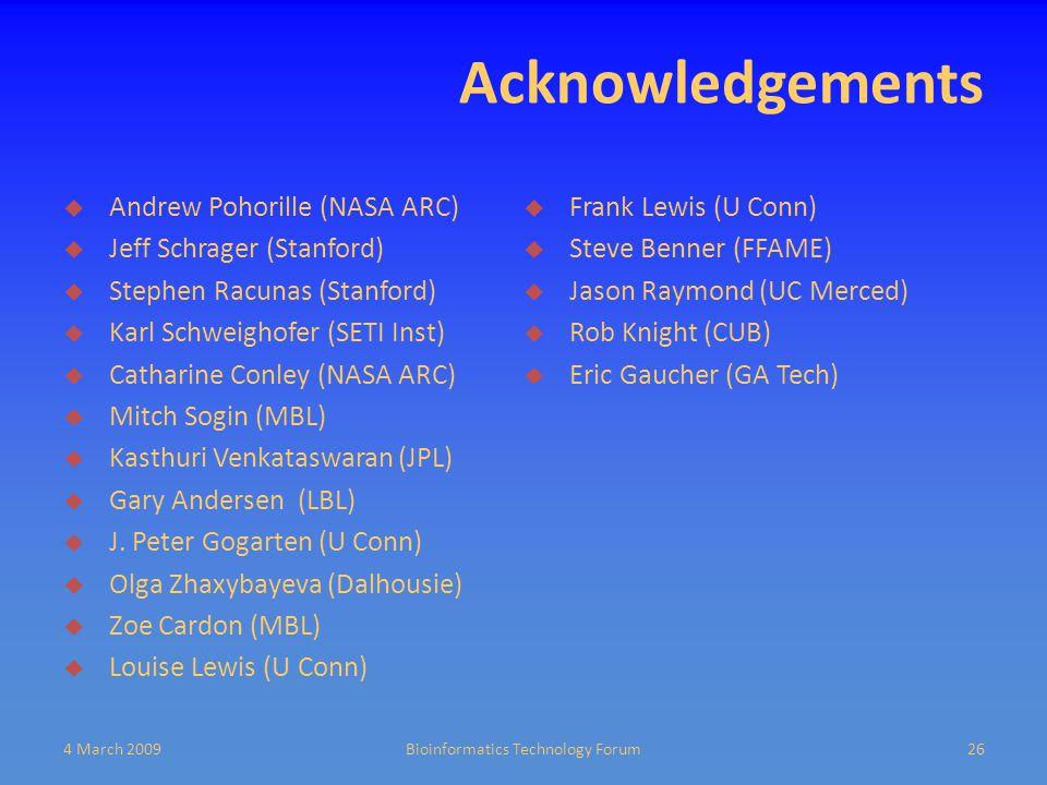 Acknowledgements  Andrew Pohorille (NASA ARC)  Jeff Schrager (Stanford)  Stephen Racunas (Stanford)  Karl Schweighofer (SETI Inst)  Catharine Conley (NASA ARC)  Mitch Sogin (MBL)  Kasthuri Venkataswaran (JPL)  Gary Andersen (LBL)  J.