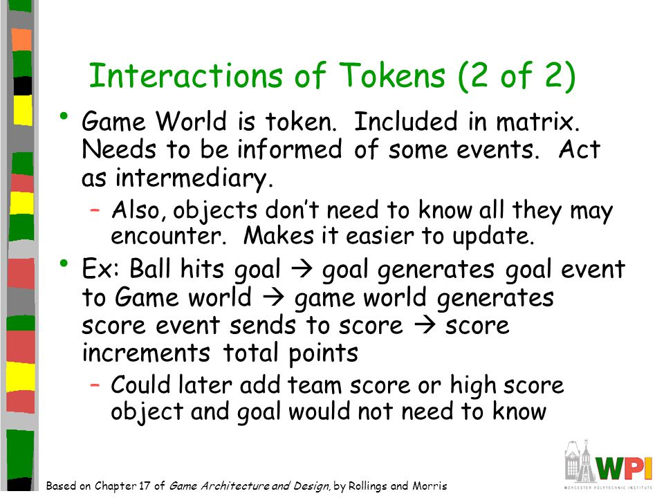 Interactions of Tokens (2 of 2) Game World is token.
