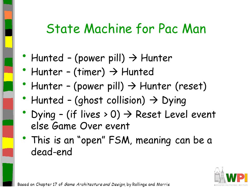 State Machine for Game World Shows how FSM translates to non game aspects Pretty generic for all games Would be others, such as score, etc.
