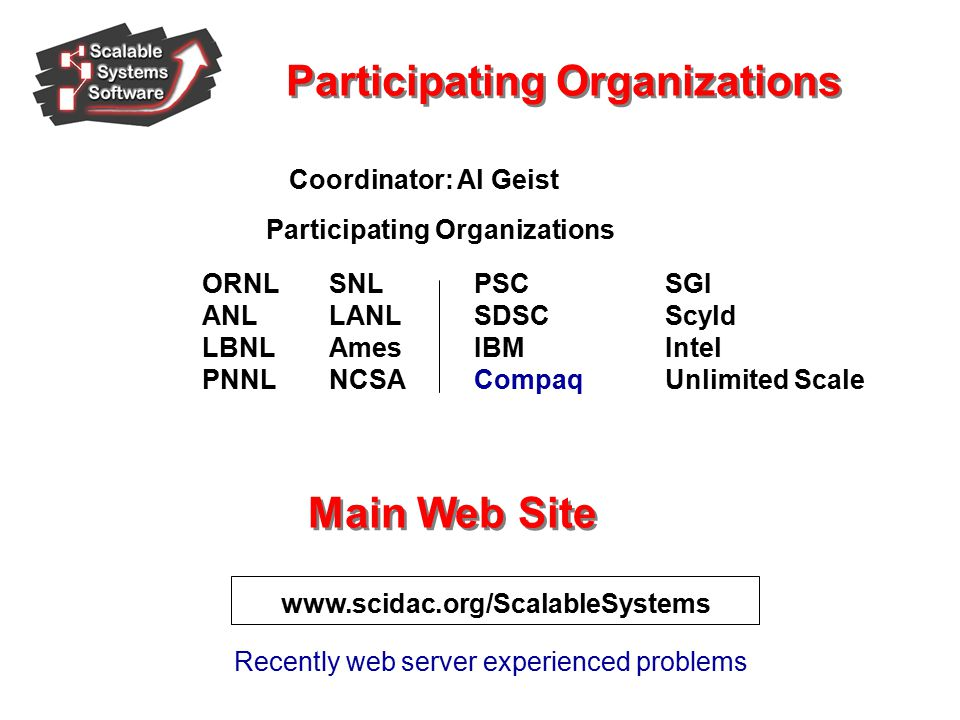 www.scidac.org/ScalableSystems Coordinator: Al Geist Participating Organizations ORNL ANL LBNL PNNL PSC SDSC IBM Compaq SNL LANL Ames NCSA SGI Scyld Intel Unlimited Scale Participating Organizations Main Web Site Recently web server experienced problems