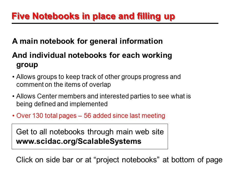 Five Notebooks in place and filling up A main notebook for general information And individual notebooks for each working group Allows groups to keep t