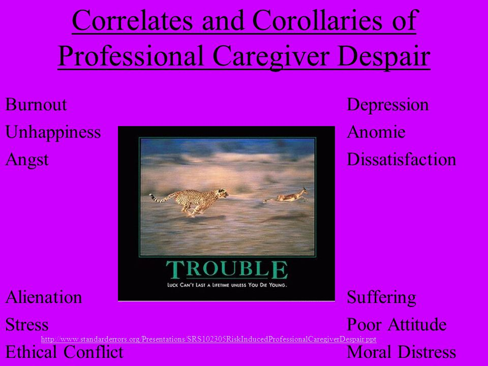 http://www.standarderrors.org/Presentations/SRS102305RiskInducedProfessionalCaregiverDespair.ppt Correlates and Corollaries of Professional Caregiver Despair BurnoutDepression UnhappinessAnomie AngstDissatisfaction AlienationSuffering Stress Poor Attitude Ethical ConflictMoral Distress