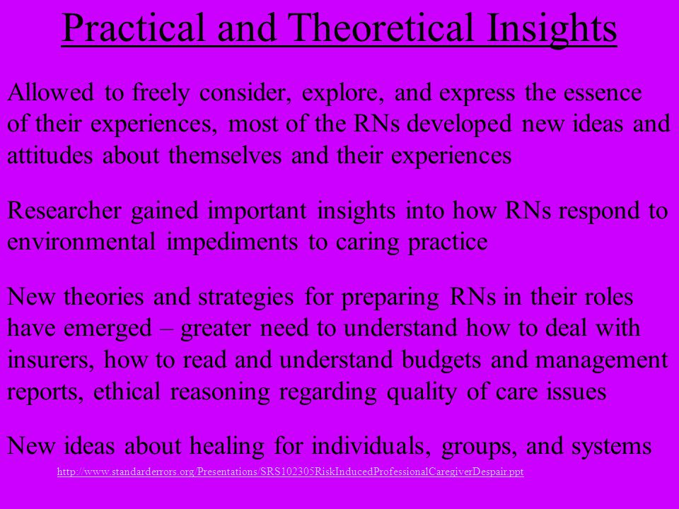 http://www.standarderrors.org/Presentations/SRS102305RiskInducedProfessionalCaregiverDespair.ppt Practical and Theoretical Insights Allowed to freely consider, explore, and express the essence of their experiences, most of the RNs developed new ideas and attitudes about themselves and their experiences Researcher gained important insights into how RNs respond to environmental impediments to caring practice New theories and strategies for preparing RNs in their roles have emerged – greater need to understand how to deal with insurers, how to read and understand budgets and management reports, ethical reasoning regarding quality of care issues New ideas about healing for individuals, groups, and systems