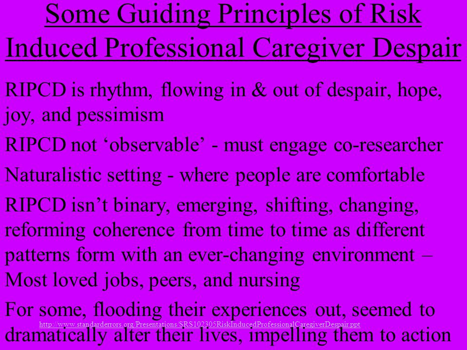 Some Guiding Principles of Risk Induced Professional Caregiver Despair RIPCD is rhythm, flowing in & out of despair, hope, joy, and pessimism RIPCD no