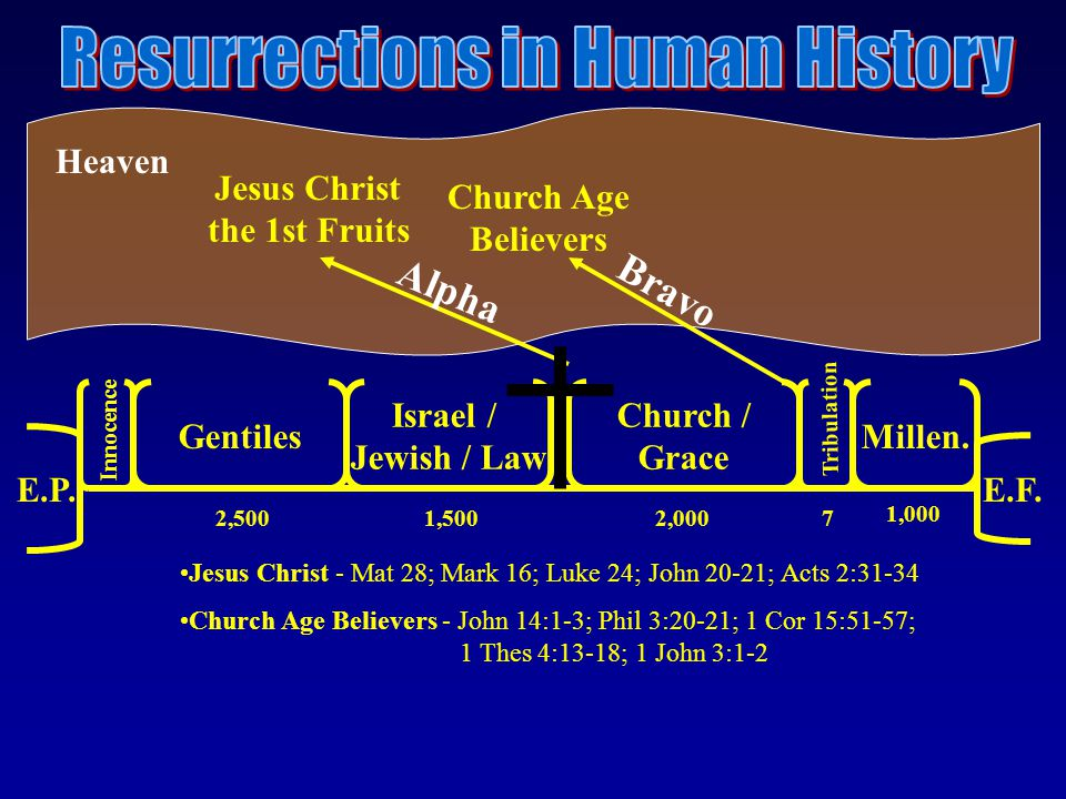 Church Age Believers Heaven E.P. E.F. Gentiles Israel / Jewish / Law Church / Grace Millen.