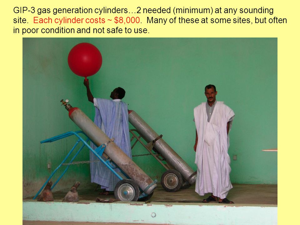 GIP-3 gas generation cylinders…2 needed (minimum) at any sounding site.