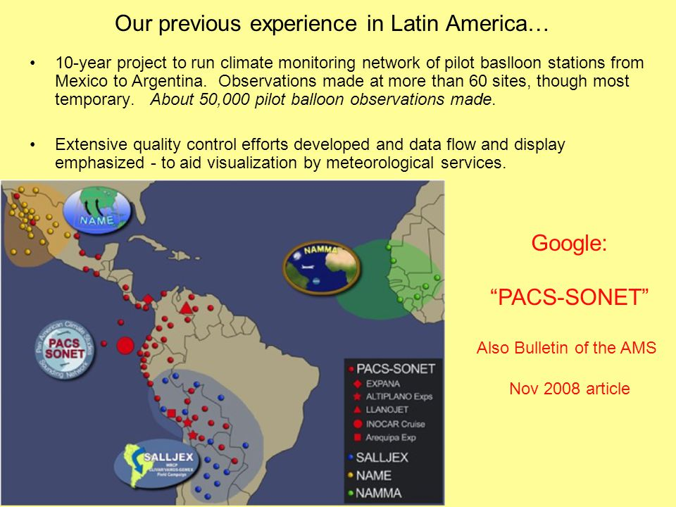 Our previous experience in Latin America… 10-year project to run climate monitoring network of pilot baslloon stations from Mexico to Argentina.
