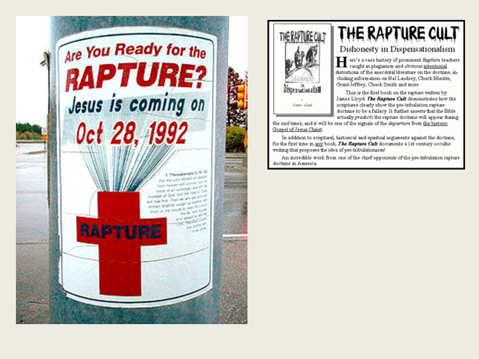 Rapture Distinct from Second Advent Rapture (1 Thess 4:13-17; 1 Cor 15:51-57) Second Coming (Rev 19:11-16) Christ comes in the air (1 Thess 4:16-17) Christ comes to the earth (Zech 14:4) For His saints (1 Thess 4:15-17) With His saints (Rev 19:14) Blessing (1 Thess 4:18) Judgment (Rev 19:15) Effects only believers (1 Thess 4:16) Effects both believers and unbelievers (Rev 19:15) Invisible (1 Thess 4:16) Visible to all (Rev 1:7) Announced only by an archangel (1 Thess 4:16) Involves myriads of angels (Jude 14) Resurrection (1 Cor 15: 51) No resurrection Rescue of the church (1 Thess 1:10) Rescue of Israel (Matt 23:37-39)