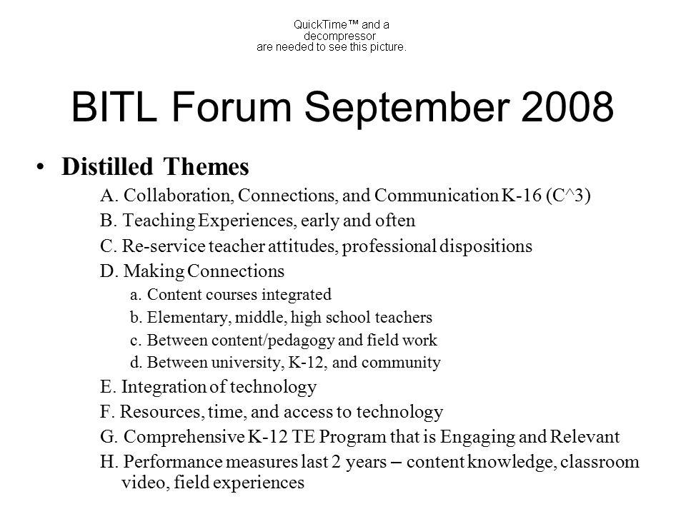 BITL Forum September 2008 Distilled Themes A.