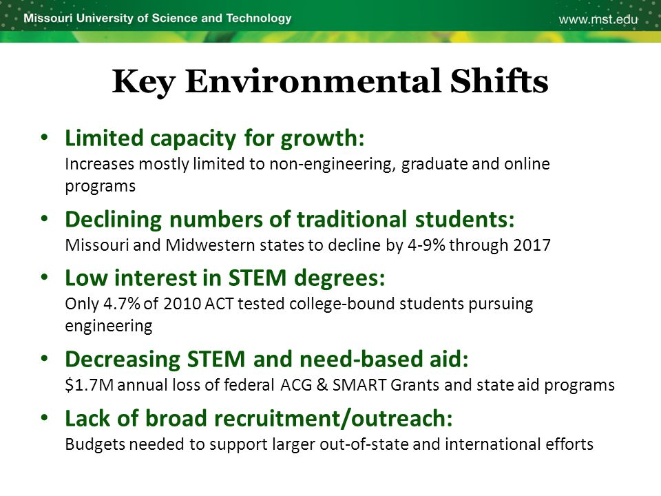 Key Environmental Shifts Limited capacity for growth: Increases mostly limited to non-engineering, graduate and online programs Declining numbers of t