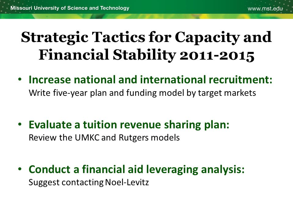 Strategic Tactics for Capacity and Financial Stability 2011-2015 Increase national and international recruitment: Write five-year plan and funding mod