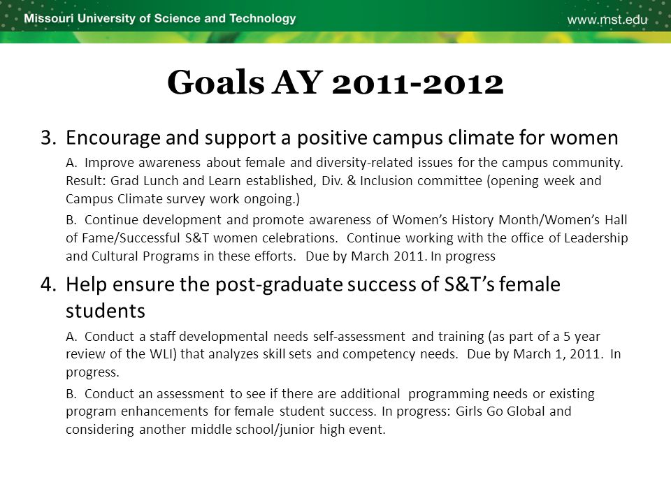 Goals AY 2011-2012 3.Encourage and support a positive campus climate for women A. Improve awareness about female and diversity-related issues for the