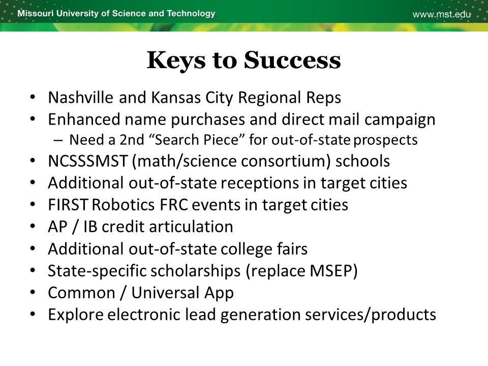 "Keys to Success Nashville and Kansas City Regional Reps Enhanced name purchases and direct mail campaign – Need a 2nd ""Search Piece"" for out-of-state"