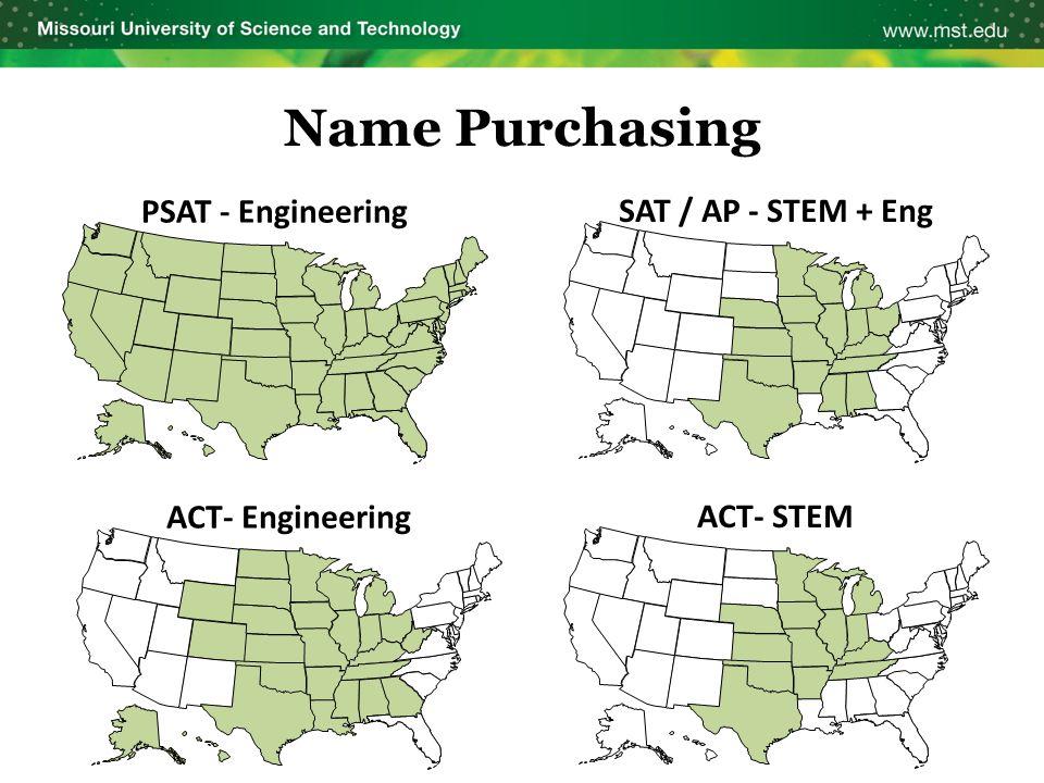 Name Purchasing PSAT - Engineering ACT- Engineering SAT / AP - STEM + Eng ACT- STEM