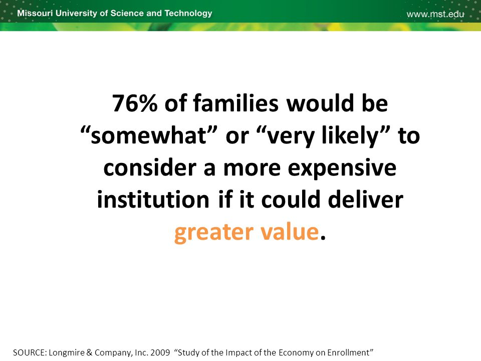 "76% of families would be ""somewhat"" or ""very likely"" to consider a more expensive institution if it could deliver greater value. SOURCE: Longmire & Co"