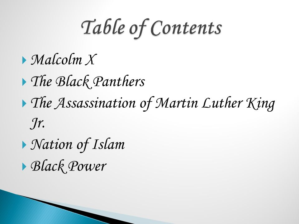  Malcolm X  The Black Panthers  The Assassination of Martin Luther King Jr.  Nation of Islam  Black Power