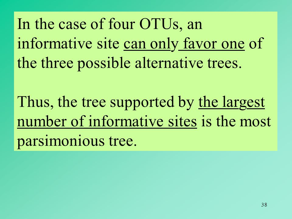 38 In the case of four OTUs, an informative site can only favor one of the three possible alternative trees.