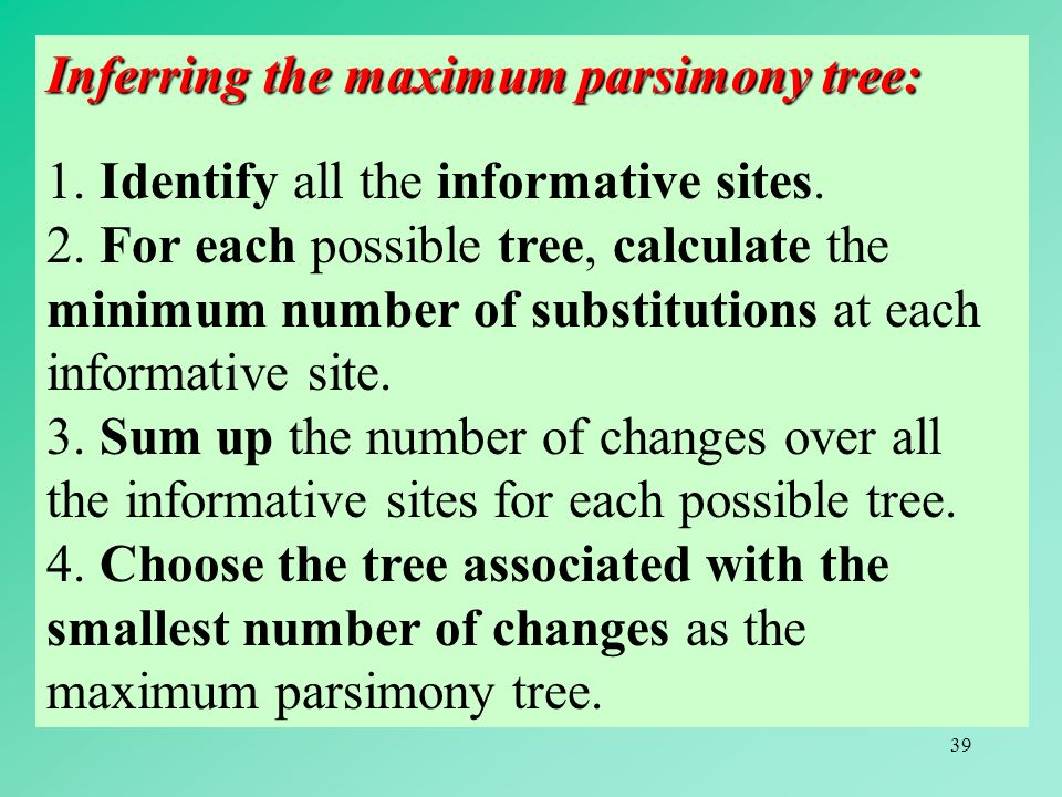 39 Inferring the maximum parsimony tree: 1. Identify all the informative sites.