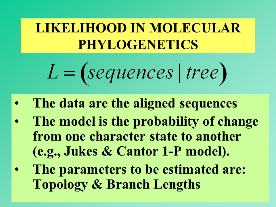 59 LIKELIHOOD IN MOLECULAR PHYLOGENETICS The data are the aligned sequences The model is the probability of change from one character state to another (e.g., Jukes & Cantor 1-P model).