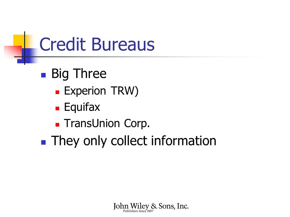 Credit Bureaus Big Three Experion TRW) Equifax TransUnion Corp. They only collect information
