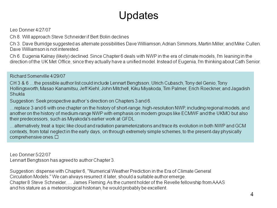 4 Updates Leo Donner 4/27/07 Ch 8. Will approach Steve Schneider if Bert Bolin declines Ch 3.
