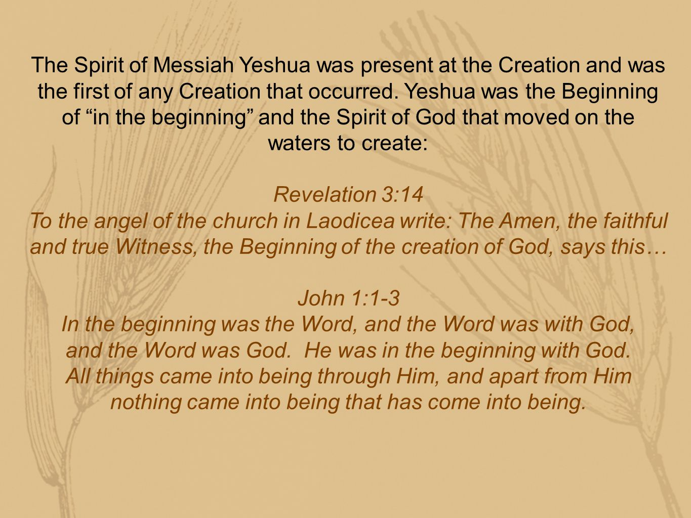The Spirit of Messiah Yeshua was present at the Creation and was the first of any Creation that occurred.