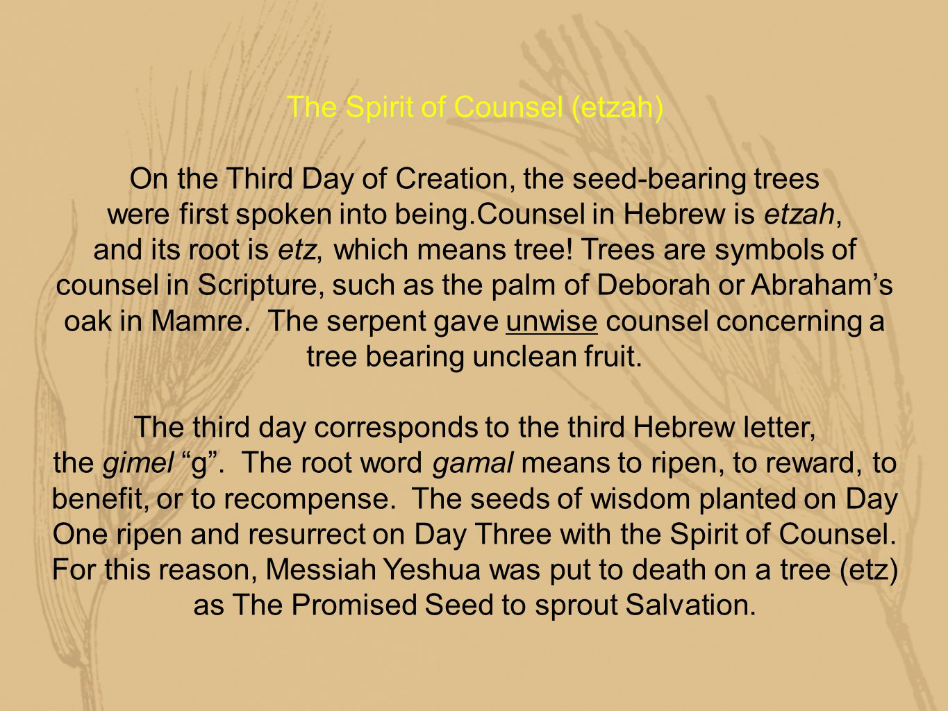 The Spirit of Counsel (etzah) On the Third Day of Creation, the seed-bearing trees were first spoken into being.Counsel in Hebrew is etzah, and its root is etz, which means tree.