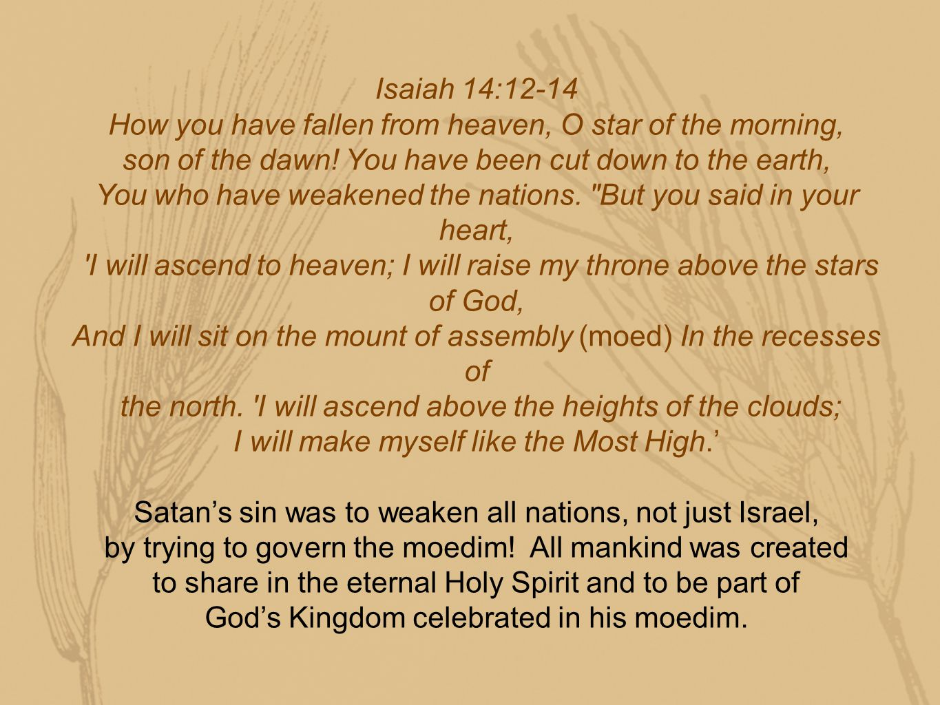 Isaiah 14:12-14 How you have fallen from heaven, O star of the morning, son of the dawn.