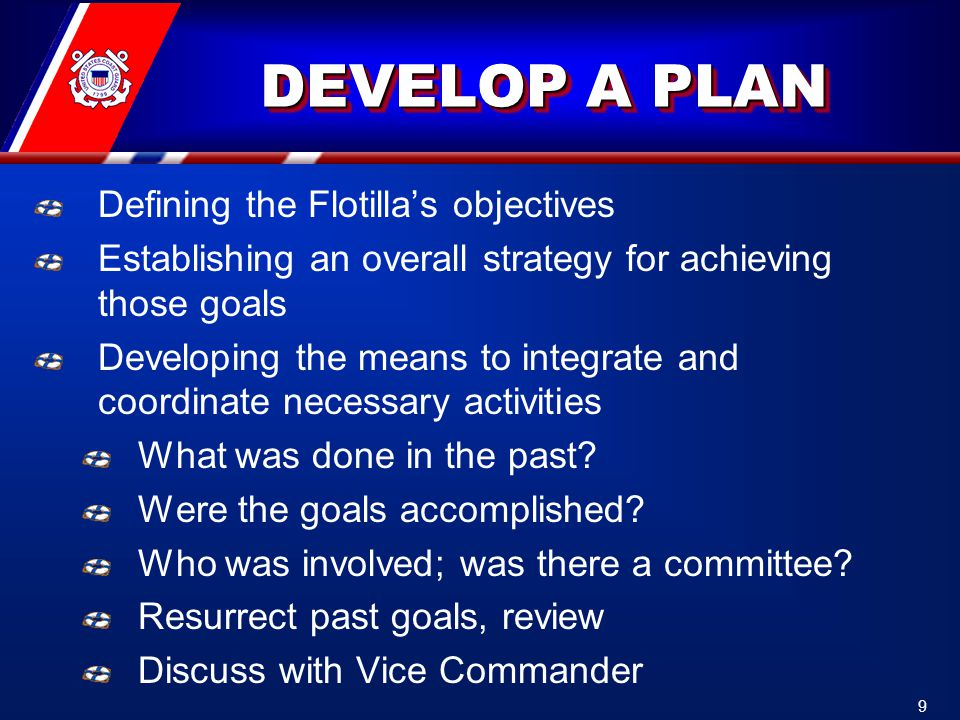DEVELOP A PLAN Defining the Flotilla's objectives Establishing an overall strategy for achieving those goals Developing the means to integrate and coordinate necessary activities What was done in the past.