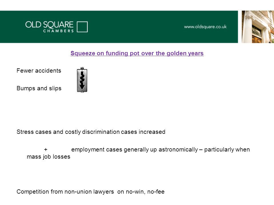 Squeeze on funding pot over the golden years Fewer accidents Bumps and slips Stress cases and costly discrimination cases increased + employment cases generally up astronomically – particularly when mass job losses Competition from non-union lawyers on no-win, no-fee