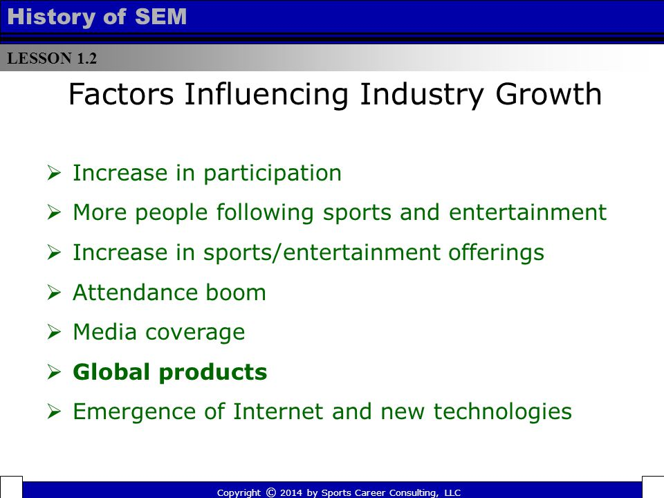 LESSON 1.2 History of SEM  Increase in participation  More people following sports and entertainment  Increase in sports/entertainment offerings  Attendance boom  Media coverage  Global products  Emergence of Internet and new technologies Factors Influencing Industry Growth Copyright © 2014 by Sports Career Consulting, LLC