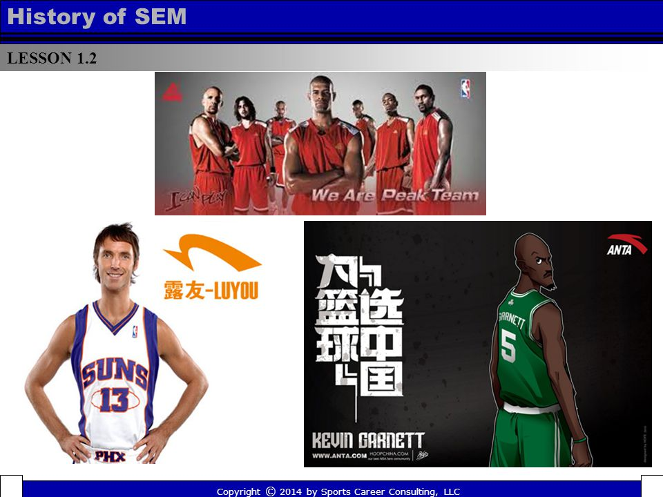LESSON 1.2 History of SEM Copyright © 2014 by Sports Career Consulting, LLC