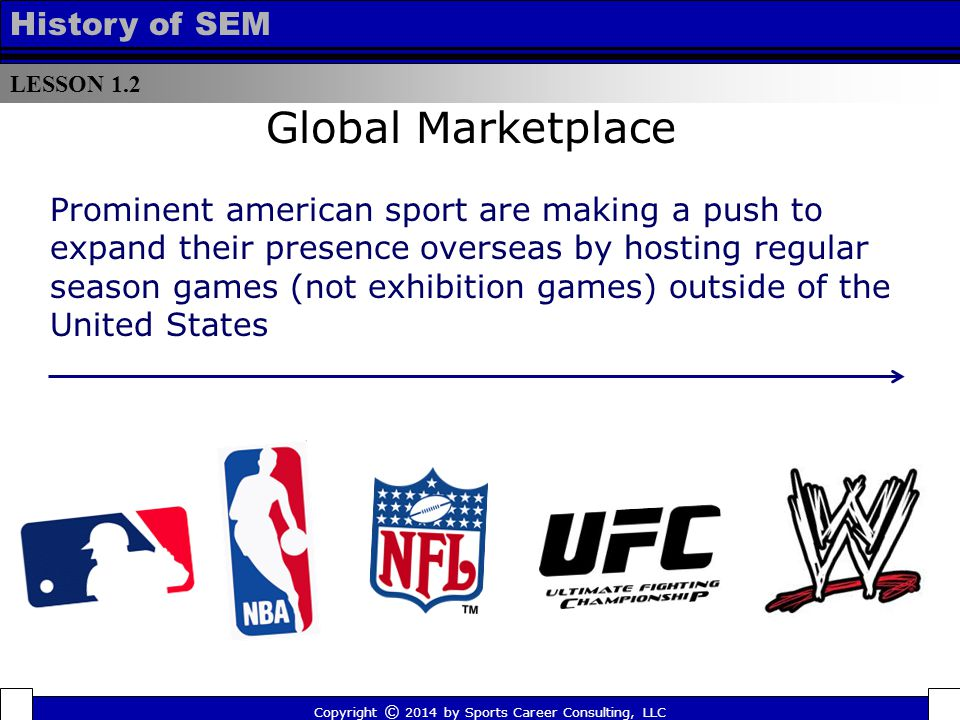 LESSON 1.2 History of SEM Global Marketplace Prominent american sport are making a push to expand their presence overseas by hosting regular season ga