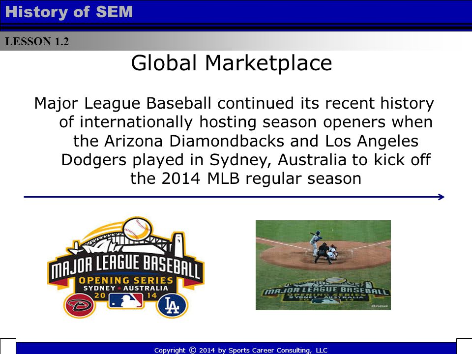 LESSON 1.2 History of SEM Global Marketplace Major League Baseball continued its recent history of internationally hosting season openers when the Arizona Diamondbacks and Los Angeles Dodgers played in Sydney, Australia to kick off the 2014 MLB regular season Copyright © 2014 by Sports Career Consulting, LLC