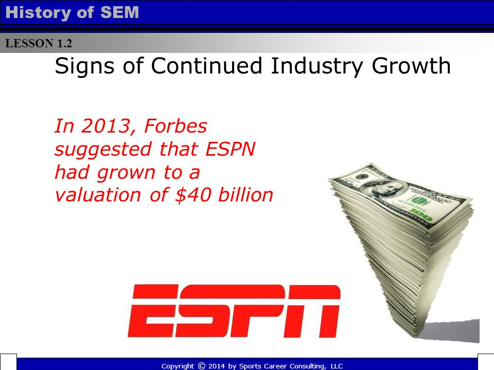 LESSON 1.2 History of SEM Signs of Continued Industry Growth In 2013, Forbes suggested that ESPN had grown to a valuation of $40 billion Copyright © 2014 by Sports Career Consulting, LLC
