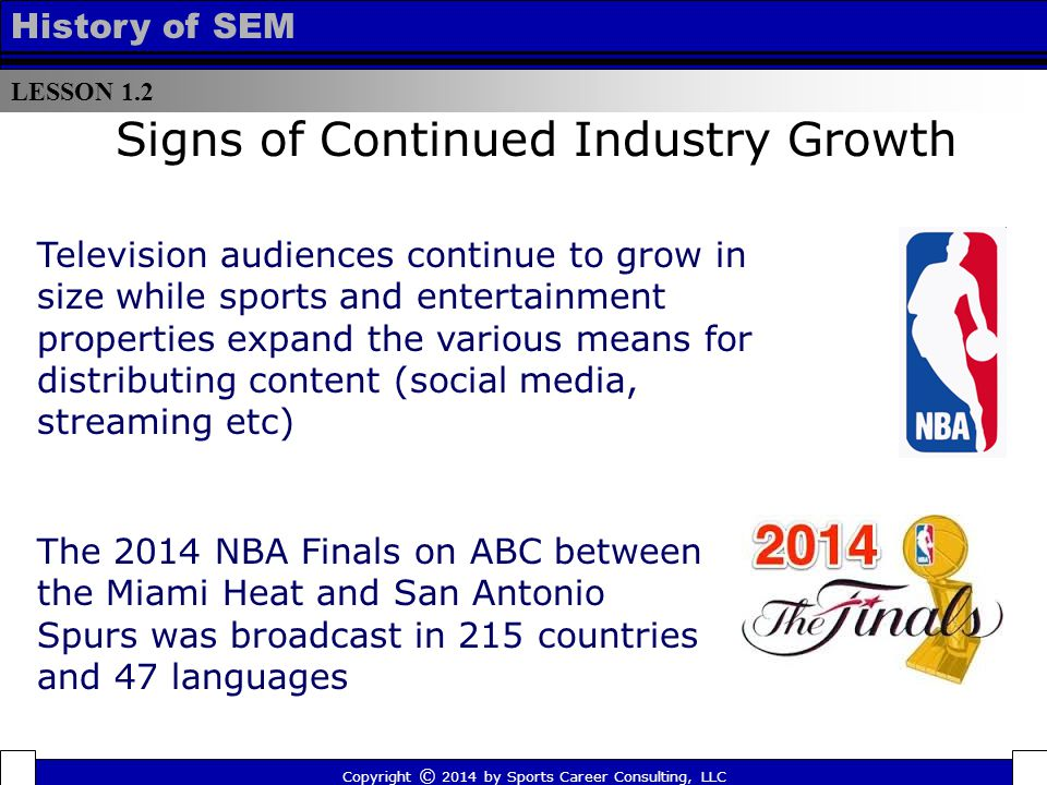 LESSON 1.2 History of SEM Signs of Continued Industry Growth The 2014 NBA Finals on ABC between the Miami Heat and San Antonio Spurs was broadcast in 215 countries and 47 languages Television audiences continue to grow in size while sports and entertainment properties expand the various means for distributing content (social media, streaming etc) Copyright © 2014 by Sports Career Consulting, LLC