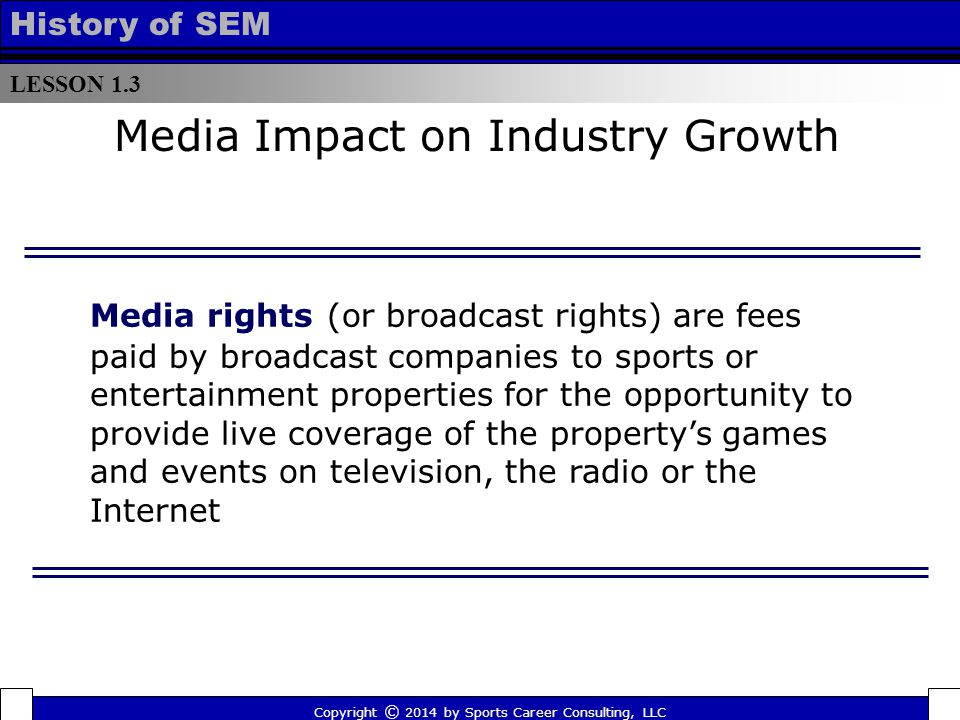 LESSON 1.3 History of SEM Media Impact on Industry Growth Media rights (or broadcast rights) are fees paid by broadcast companies to sports or entertainment properties for the opportunity to provide live coverage of the property's games and events on television, the radio or the Internet Copyright © 2014 by Sports Career Consulting, LLC