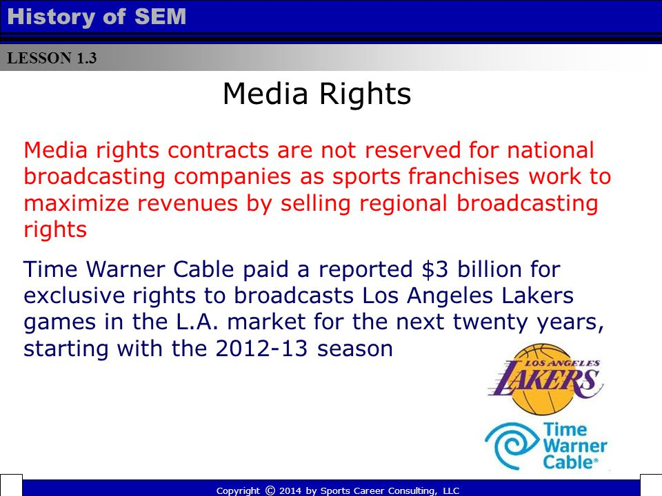 LESSON 1.3 History of SEM Media rights contracts are not reserved for national broadcasting companies as sports franchises work to maximize revenues b