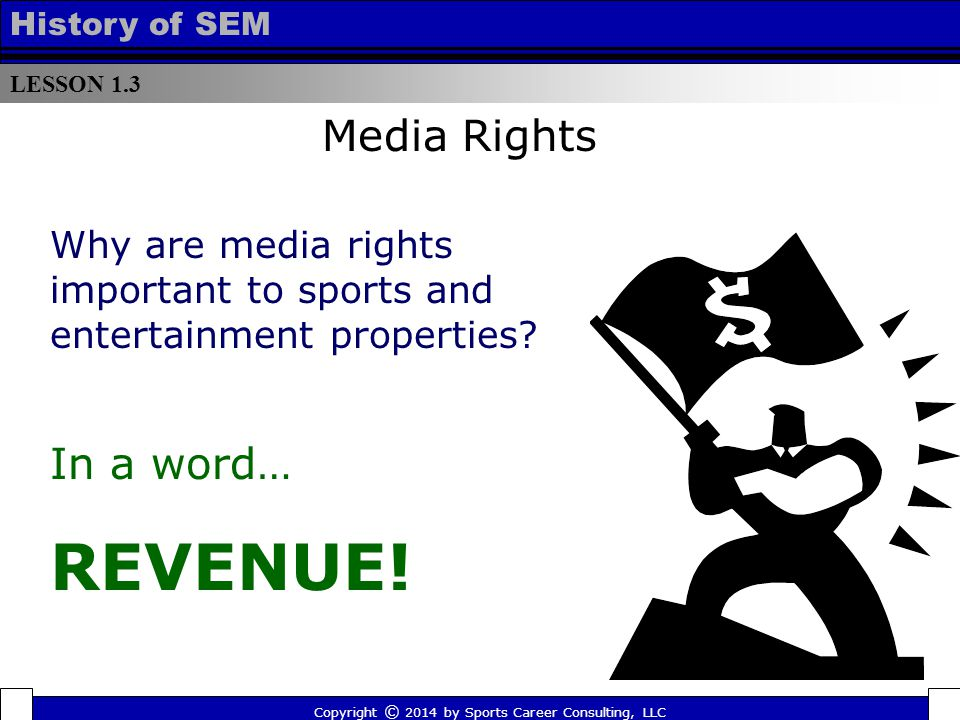LESSON 1.3 History of SEM Why are media rights important to sports and entertainment properties? Copyright © 2014 by Sports Career Consulting, LLC In