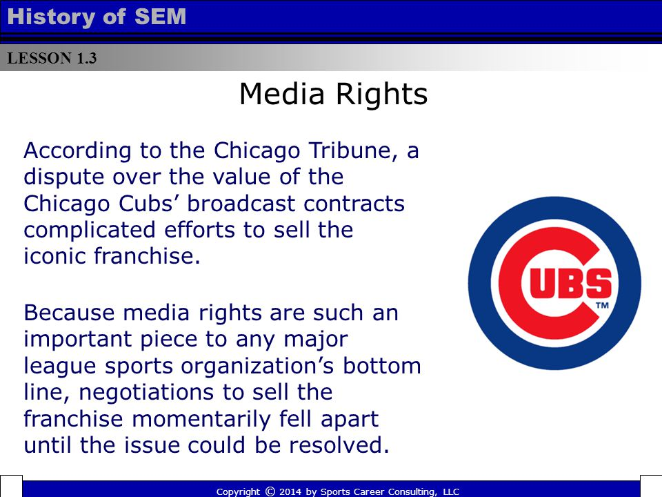 LESSON 1.3 History of SEM Copyright © 2014 by Sports Career Consulting, LLC Media Rights According to the Chicago Tribune, a dispute over the value of the Chicago Cubs' broadcast contracts complicated efforts to sell the iconic franchise.