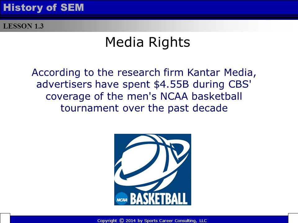 LESSON 1.3 History of SEM Copyright © 2014 by Sports Career Consulting, LLC According to the research firm Kantar Media, advertisers have spent $4.55B during CBS coverage of the men s NCAA basketball tournament over the past decade Media Rights