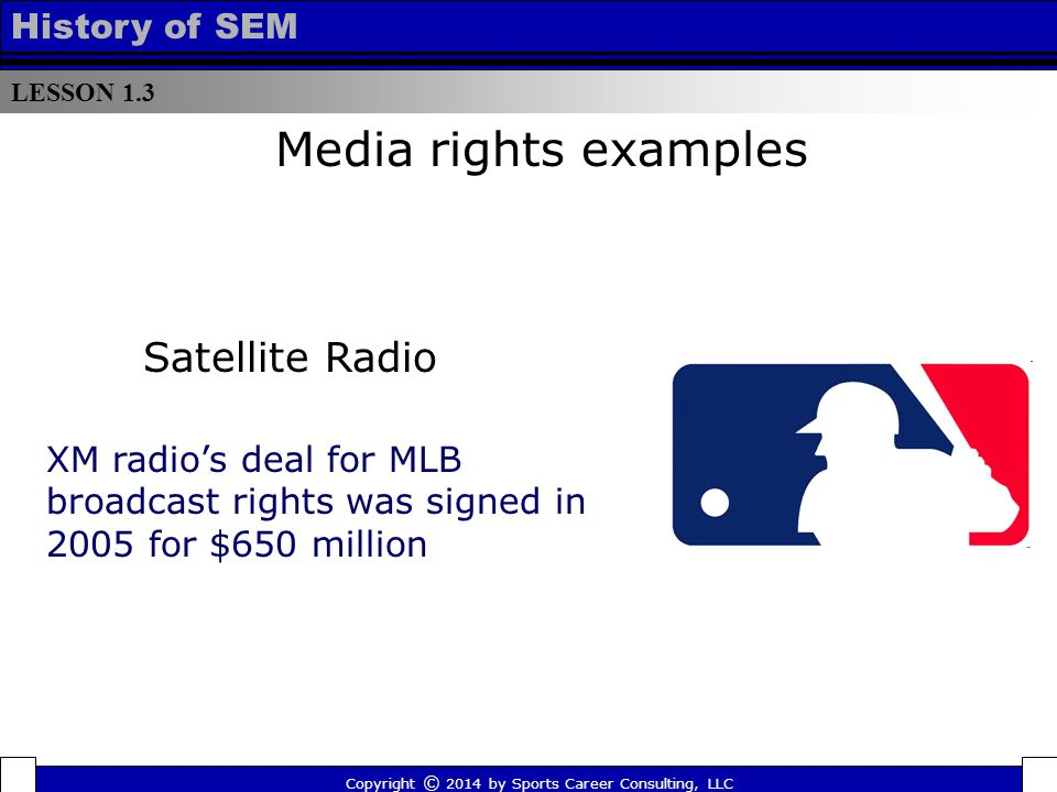 LESSON 1.3 History of SEM Copyright © 2014 by Sports Career Consulting, LLC XM radio's deal for MLB broadcast rights was signed in 2005 for $650 milli